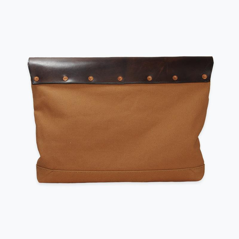 キャンバス&レザークラッチバッグ ブラウン - Brown Canvas & Leather Clutch