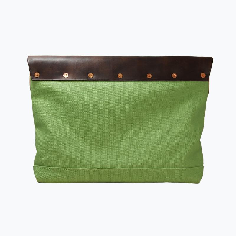 キャンバス&レザークラッチバッグ グリーン - Green Canvas & Leather Clutch