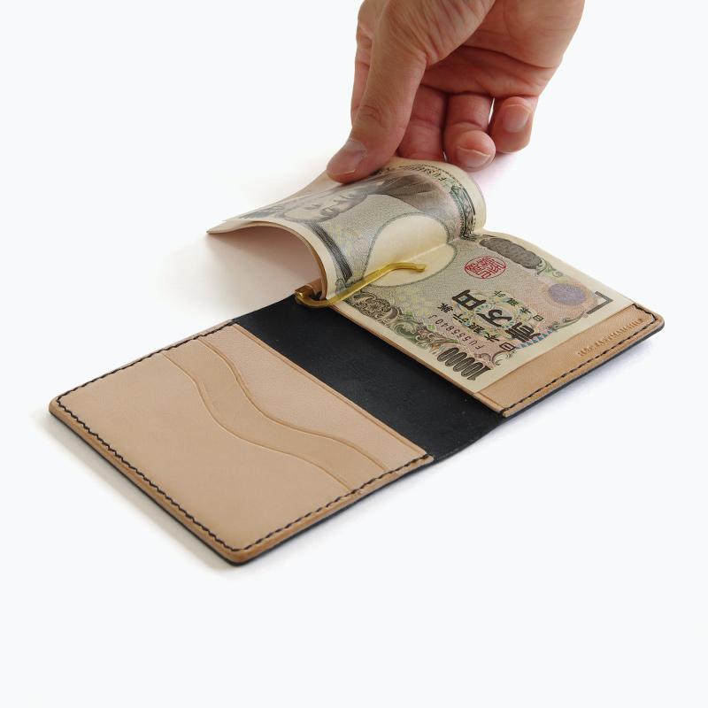 新喜皮革コードバン マネークリップウォレット ブラック内側 – Shinki Cordovan Black Money Clip Wallet, Inside