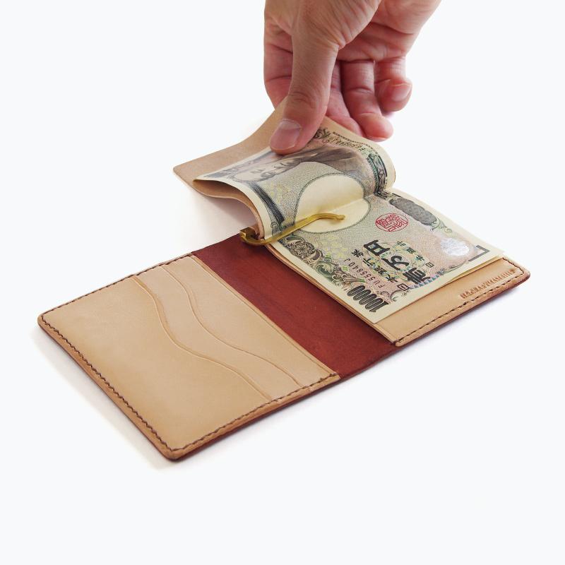 新喜皮革コードバン マネークリップウォレット ブラウン内側 – Shinki Cordovan Brown Money Clip Wallet, Inside