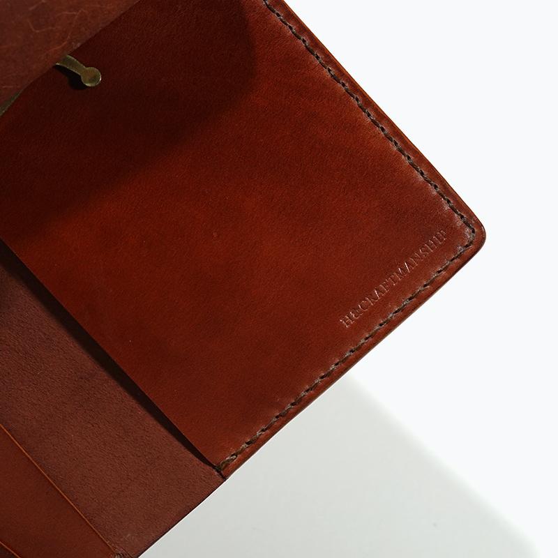 新喜皮革コードバン|マネークリップウォレット|ブラウン|刻印